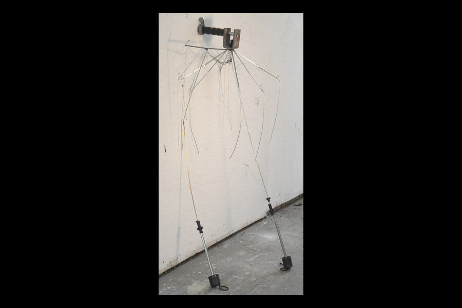 Puppet, found umbrella parts and hardware; 2010