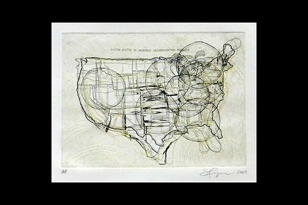 United States Lesser-known Regions, 2009, etching, 12x9""
