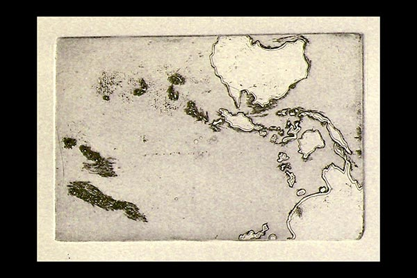 South Seas, 2009, etching, 9x6""