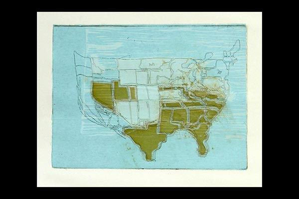Mapping My Country, 2009, relief, etching and chine collie, 12x9""